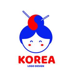 cute korea woman face logo design vector image vector image
