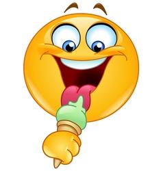 emoticon with ice cream vector image
