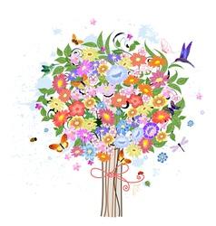 Flower decorative tree with birds vector image