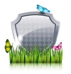 Gray shield with flying butterflies by the grass vector image vector image