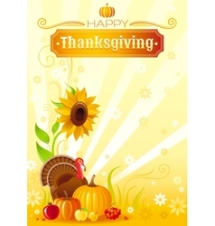 Happy Thanksgiving autumn food background vector image