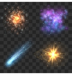 Space cosmos objects comet meteor stars vector image