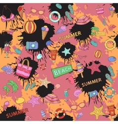 Summer patternon the background color blots vector image