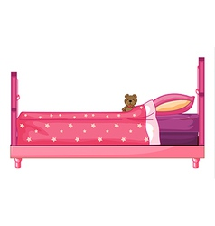 Pink bed vector image vector image