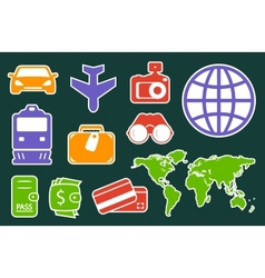 set colorful icons for travel industry vector image vector image