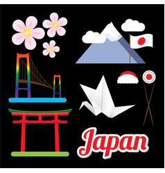 set of greatest japan symbols vector image vector image