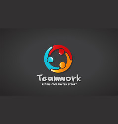 business people together logo vector image vector image