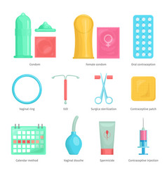 contraception methods cartoon icons vector image