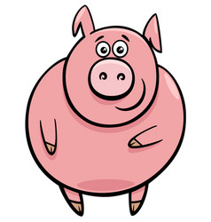 cute pig character cartoon vector image vector image