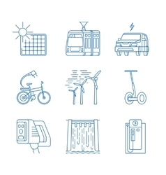 Green energy line icons vector image vector image