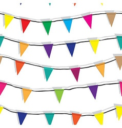 Seamless string of Christmas flags on garland vect vector image