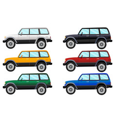 set of terrain vehicles in six different colors vector image