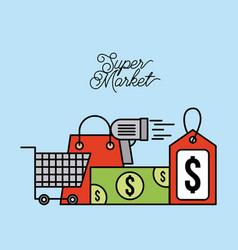 Supermarket paper bag cart shopping money scanner vector