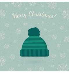 Winter hat on winter backdrop vector image vector image