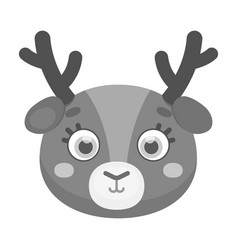 deer muzzle icon in monochrome style isolated on vector image vector image
