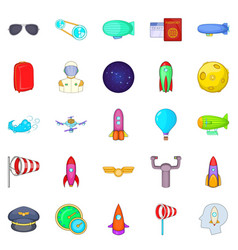 favourable wind icons set cartoon style vector image