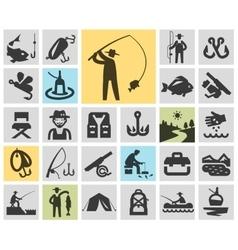 fishing set black icons signs and symbols vector image vector image