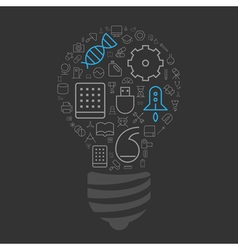 icons arranged in light bulb shape vector image