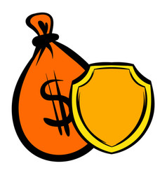 money bag and a shield icon icon cartoon vector image vector image