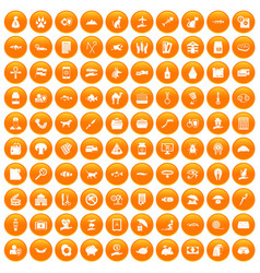100 cat icons set orange vector