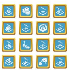 3d printing icons set sapphirine square vector image