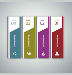 4 steps of infographic with blue green magenta vector image