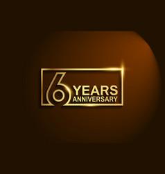 6 years anniversary golden design line style vector