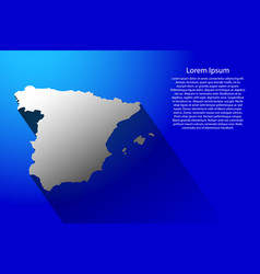 abstract map of spain with long shadow on blue vector image