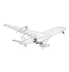 airplane in wire-frame style vector image