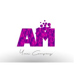 Am a m dots letter logo with purple bubbles vector