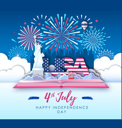 america independence day with firework vector image