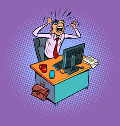 Angry furious male businessman works at an office vector