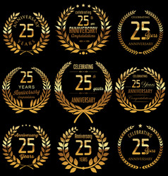 Anniversary golden laurel wreath collection 25 vector