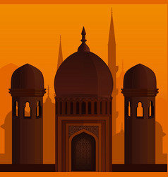 Arabic architecture islamic background vector