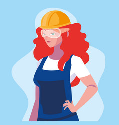 Avatar woman cartoon engineer design vector