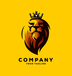 awesome lion king logo design vector image