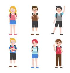 back to school children avatar icon set vector image