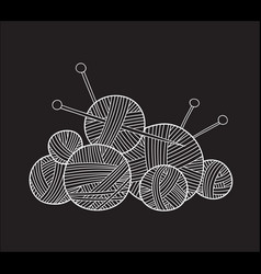 Ball of yarn with knitting needles vector