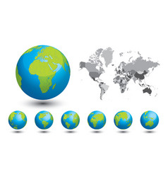 Black and white map world a set globes vector