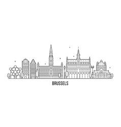 Brussels skyline belgium city building line vector