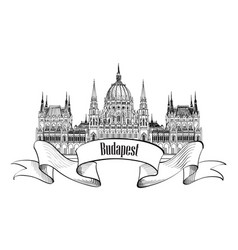 budapest city sign famous parlament building vector image