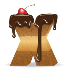 Cake letter X- birthday font vector image