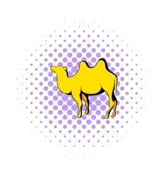 Camel icon in comics style vector image