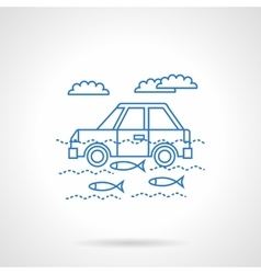 Car in river flat blue line icon vector image