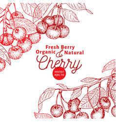 cherry berry design template hand drawn vector image