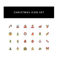 christmas icon set with filled outline style vector image