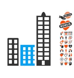 City icon with valentine bonus vector