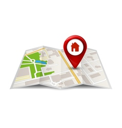 City map street view with labels or pins GPS vector image