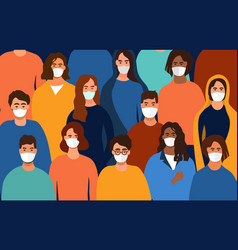 Colorful background people wearing face masks vector