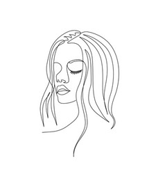 Continuous one line woman face with beautiful eyes vector